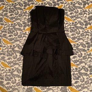 Cache Black Peplum Strapless Dress NWT Size 6